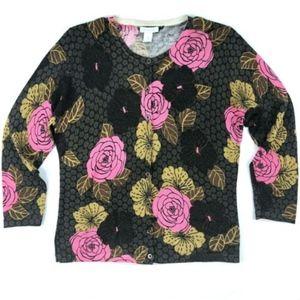 Garnet Hill Wool Rose Floral Print Cardigan
